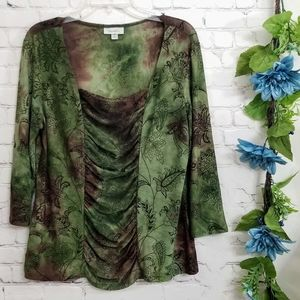 Dress Barn women's XL3/4 sleeve green tunic top